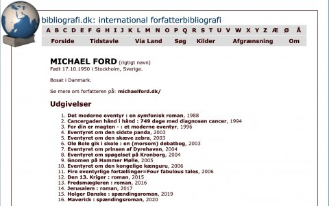 International forfatter bibliografi, Michael Ford